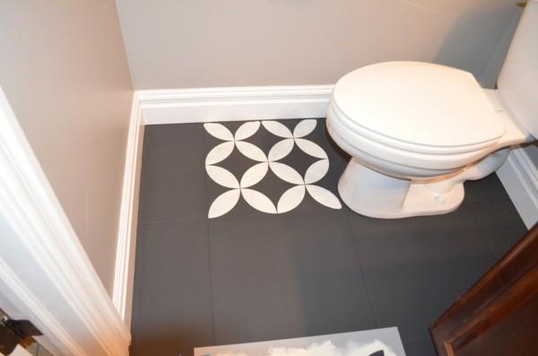 Was ist Kreidefarbe Fliesen streichen mit Kreidefarbe geometrisches Muster Fliesenboden