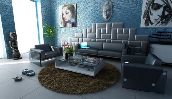 blau und verschiedene muster deko ideen