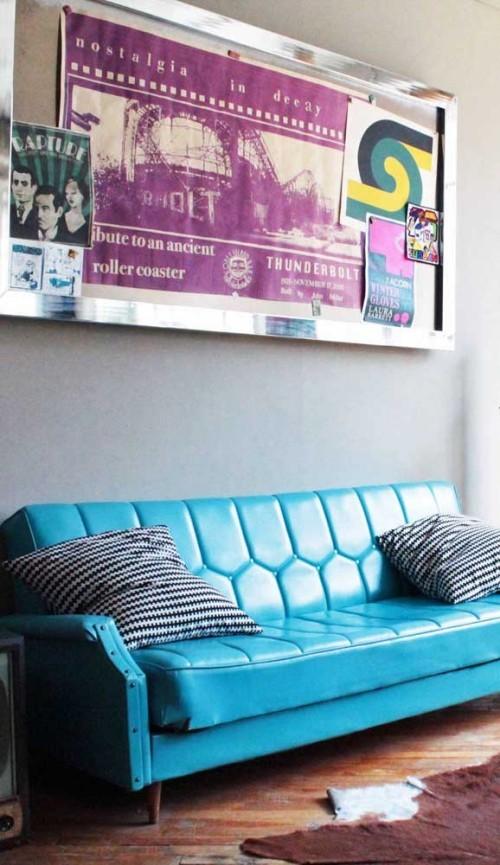 blaues Sofa - tolle Idee für die Inneneinrichtung