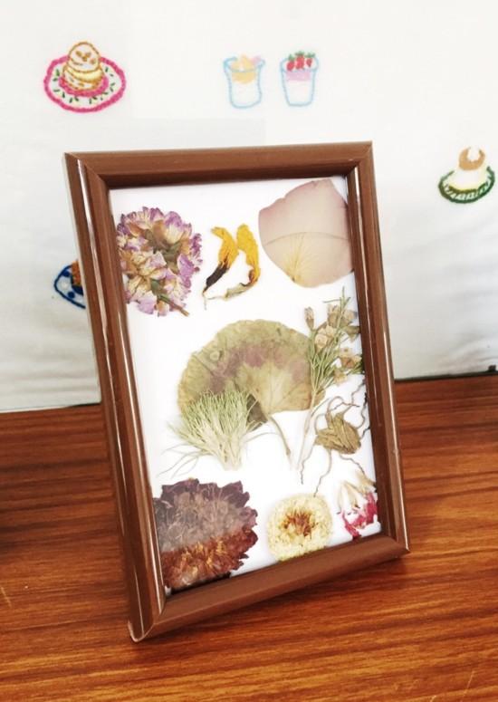 brautstrauß trocknen herbarium im bilderrahmen