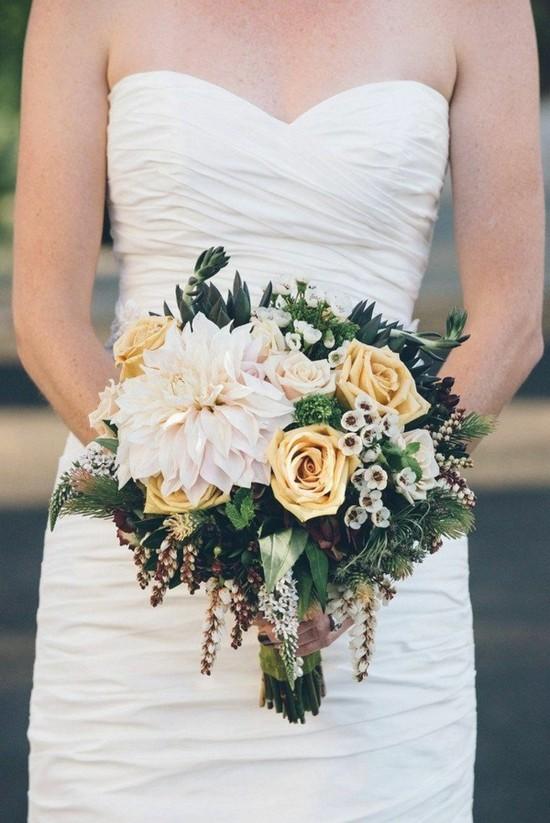 gelbe rosen chrysantheme brautstrauß herbst idee