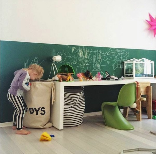 grüne Kreidetafel Kinderzimmer Tafelfarbe kreative Wandgestaltung
