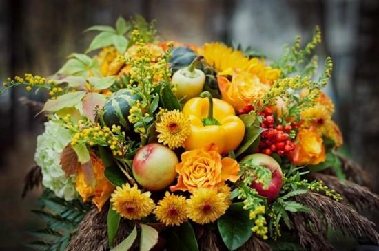 herbstblumen obst gemüse brautstrauß herbst