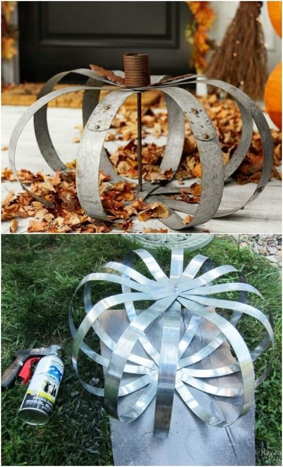 kürbis aus metall herbstdeko selber machen