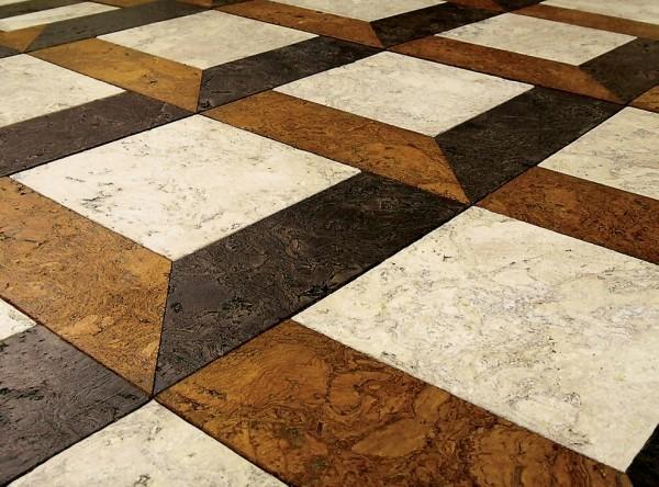 mehrere neutrale farben korkboden