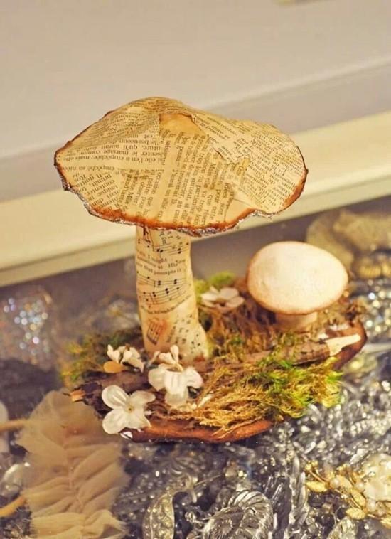 pilze aus zeitungspapier herbstdeko selber machen