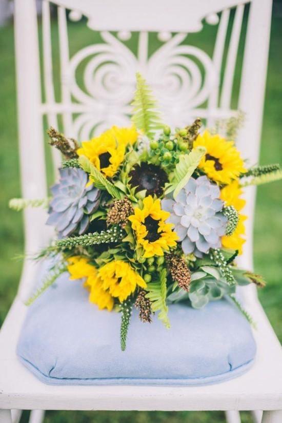 spätsommer brautstrauß mit sonnenblumen