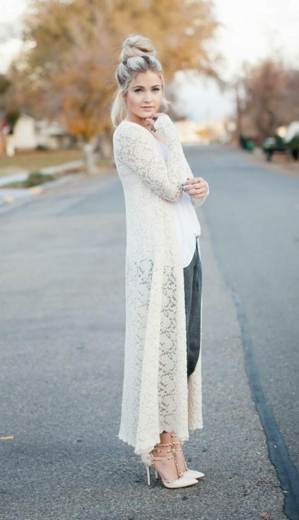 strickjacke in weißer schattierung