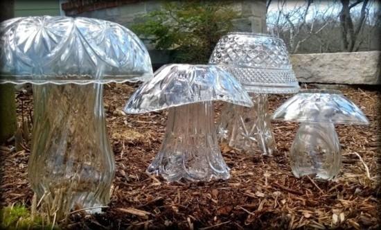upcycling gartendeko pilze herbstdeko selber machen