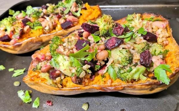 veganes rezept butternut kürbis gefüllt