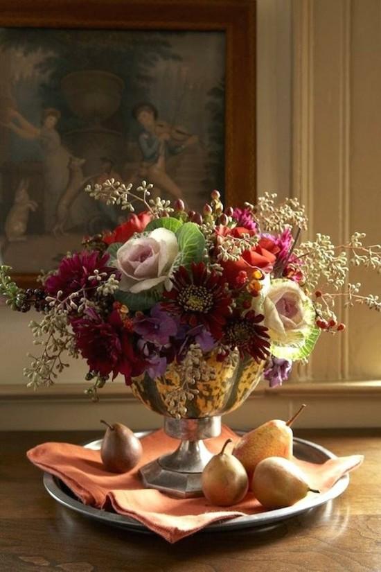 zierkohl herstblumen herbstgestecke tischdeko