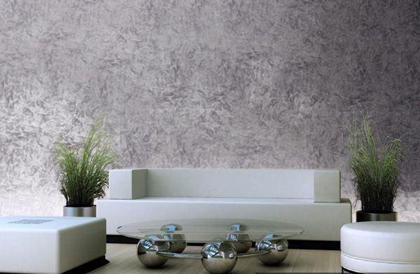 Akzentwand in einer grauen Farbe - venezianischer putz