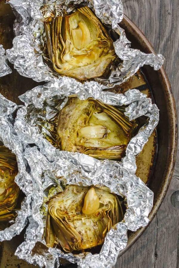 Artischocken Rezept geröstete Artischocken zubereiten nach mediterraner Art
