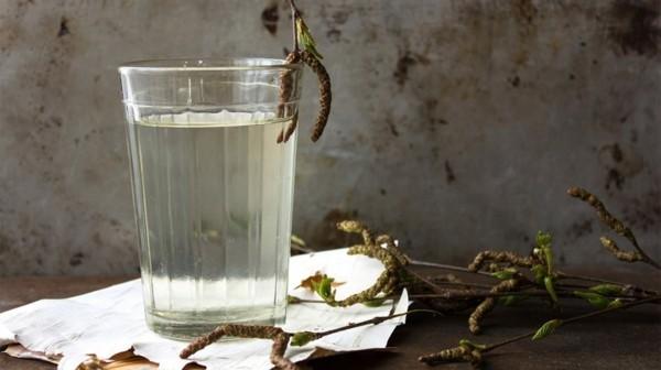Birkenwasser trinken Glas klar neutraler Geschmack Birkensaft Wirkung