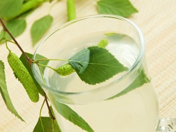 Birkenwasser trinken Wirkung Glas Birkensaft gesund