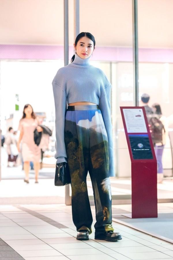 Blau und Grün Muster Trends Damen Modetrends Street Fashion