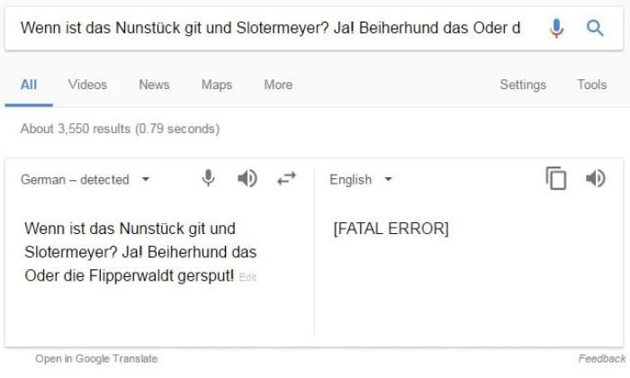 Die besten Google Easter Eggs fatal error monty python