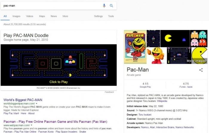 Die besten Google Easter Eggs pac man retro mini spiel