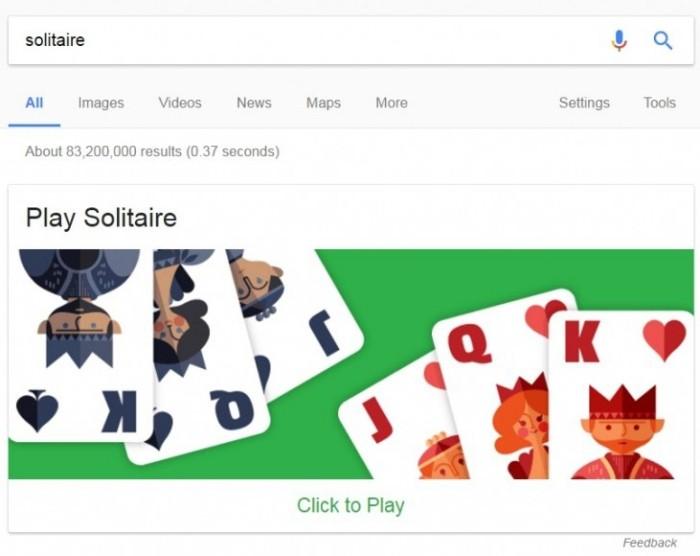Die besten Google Easter Eggs solitär kartenspiel in chrome