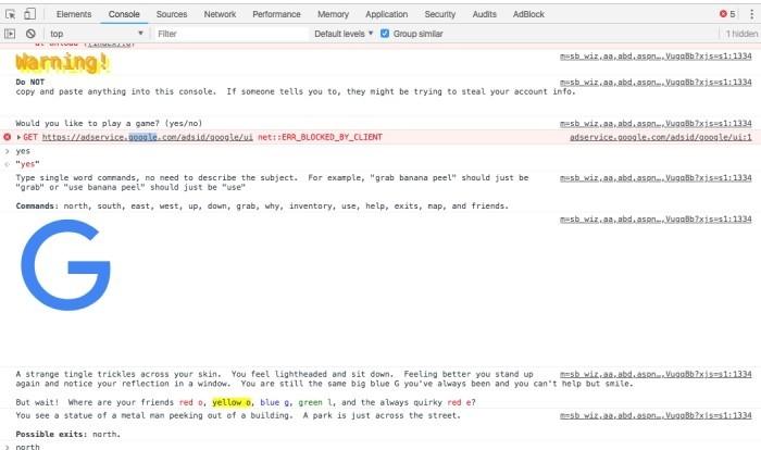 Die besten Google Easter Eggs text abenteuer von google