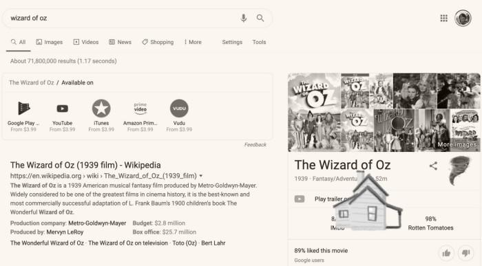 Die besten Google Easter Eggs zauberer von oz witz