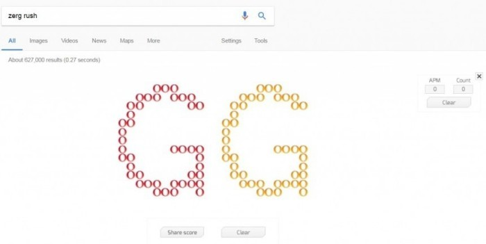 Die besten Google Easter Eggs zerg rush starcraft