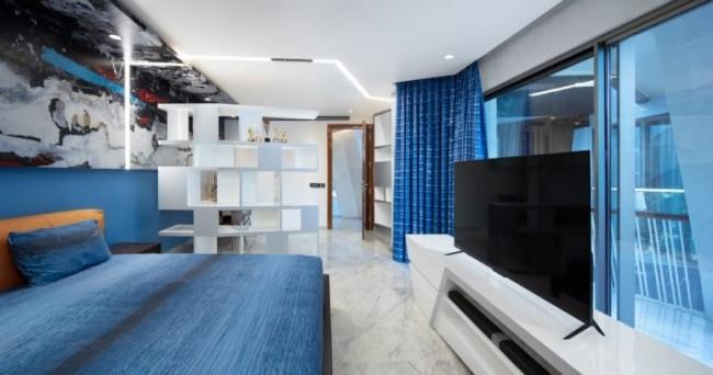 Einzigartiges Hausdesign Cleft House Indien Neu-Delhi Schlafzimmer individuell gestaltet je nach persönlichen Vorlieben der Hausbesitzer