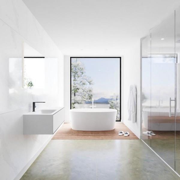 Freihängender Waschtisch mit Unterschrank für ein stilvolles Badezimmer bad minimalistisch schick