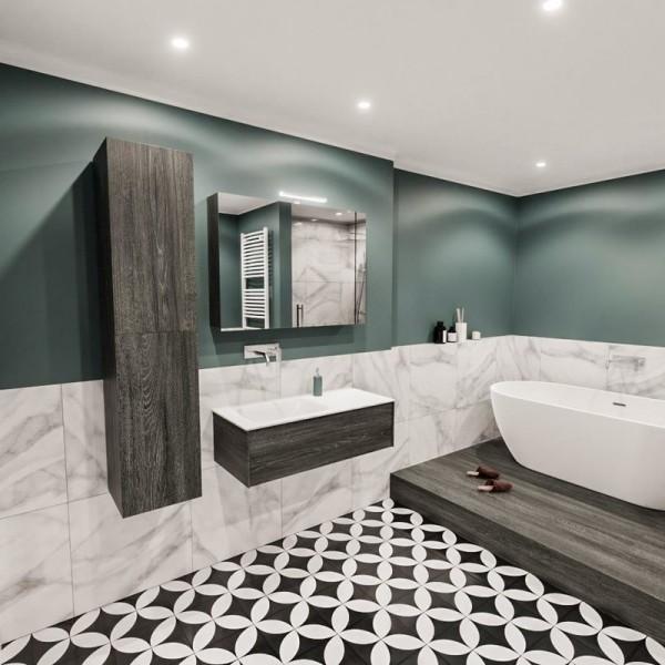 Freihängender Waschtisch mit Unterschrank für ein stilvolles Badezimmer fliesen halbwand marmor holz stilvoll