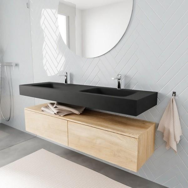 Freihängender Waschtisch mit Unterschrank für ein stilvolles Badezimmer modern und schick in matte schwarz und holz