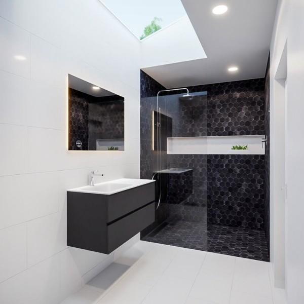 Freihängender Waschtisch mit Unterschrank für ein stilvolles Badezimmer schwarz und weiß modern trendy