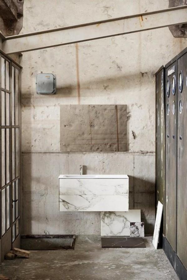 Freihängender Waschtisch mit Unterschrank für ein stilvolles Badezimmer vintage badezimmer optik mit marmor