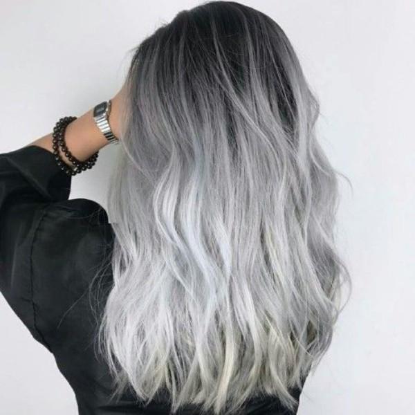 Haare grau färben - toller Ombre Effekt