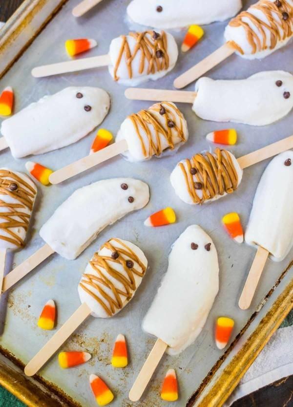 Halloween Essen Kinder Partysnacks Fingerfood kalt Bananen Gespenster