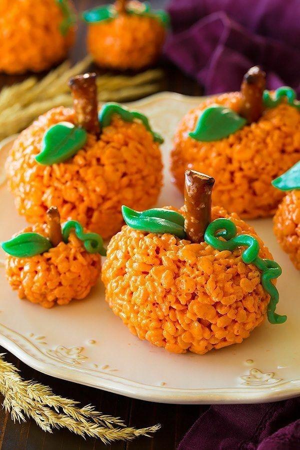 Halloween Essen Kinder Snacks für Halloween Fingerfood Reis Kürbis