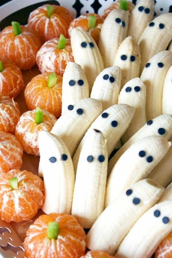 Halloween Essen Kinder gesunde Snacks Fingerfood kalt Banana Gespenster Orangen