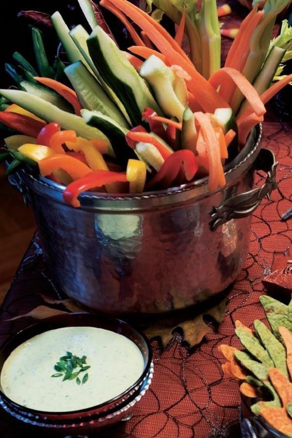 Halloween Essen Kinder gesunde Snacks Fingerfood kalt Gemüse