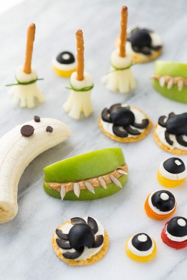 Halloween Essen Kinder gesunde Snacks Fingerfood kalt Obst Monster