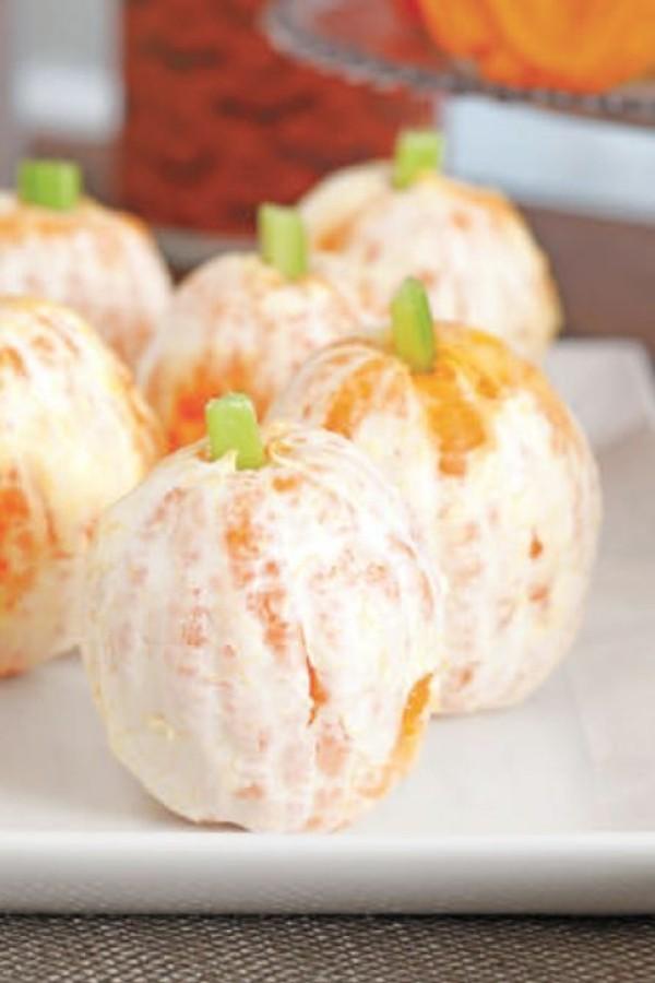 Halloween Essen Kinder gesunde Snacks Fingerfood kalt Orangen Kürbisse