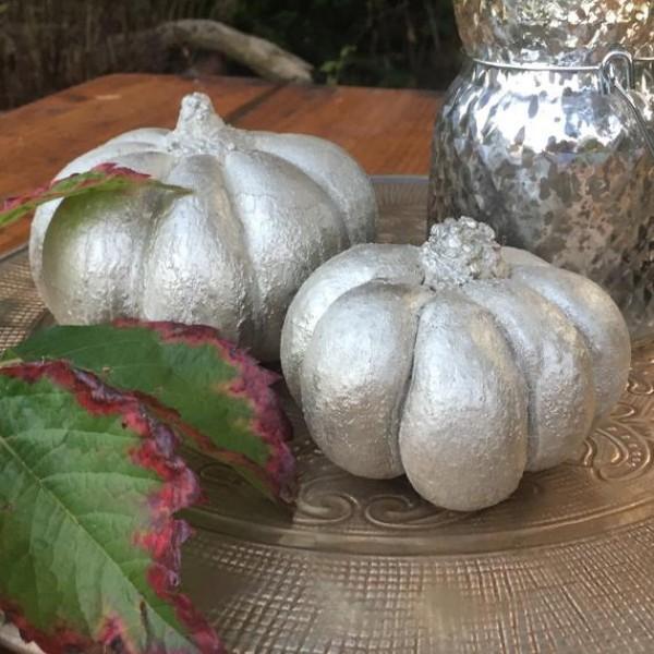 Halloween Kürbis - silberne Metallic Farbe