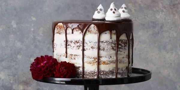Halloween Kuchen Geister und Rosen