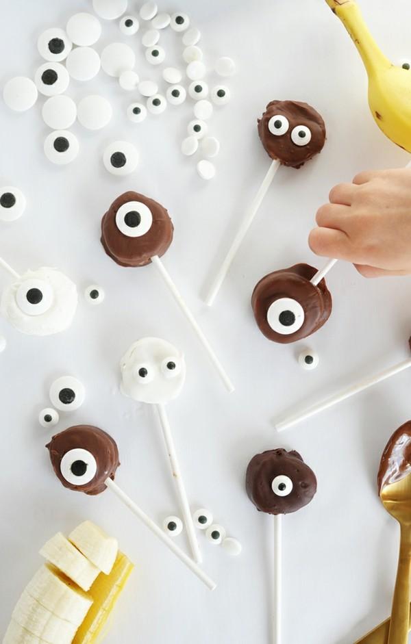 Halloween Snacks Kinder Fingerfood Spieße Banana Schoko Augen