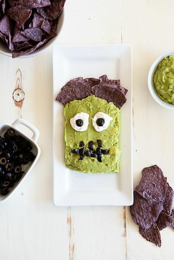 Halloween Snacks Kinder herzhaftes Fingerfood Frankenstein Monster
