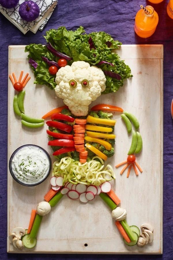 Halloween Snacks Kinder herzhaftes Fingerfood gesund Gemüse Skeleton