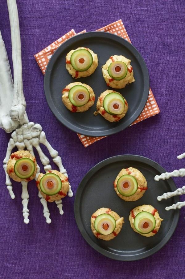 Halloween Snacks Kinder schnelle Fingerfood Rezepte Augen