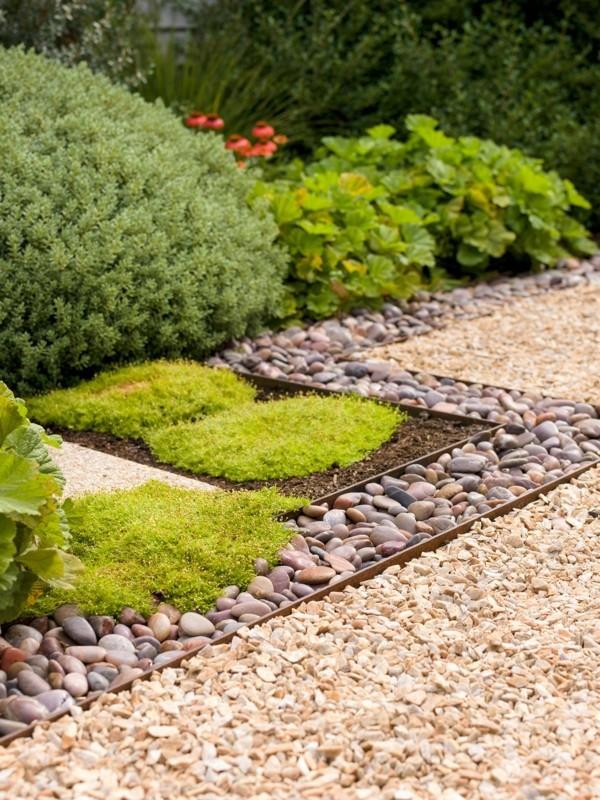 Kiesgarten anlegen Vorteile Splitt Zierkies Gartensteine