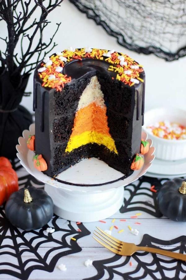 Orange in der Mitte - Halloween Kuchen