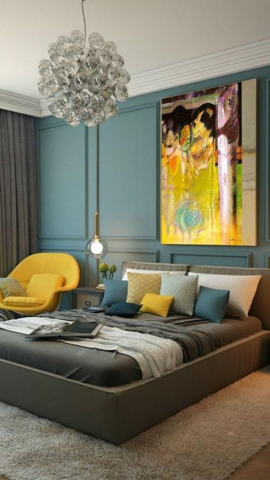 Schlafzimmer herbstlich gestalten Blaugrün gelbe Akzente sehr gemütliche Atmosphäre