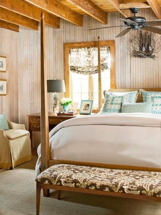 Schlafzimmer herbstlich gestalten im rustikalen Stil eingerichtet viel Holz