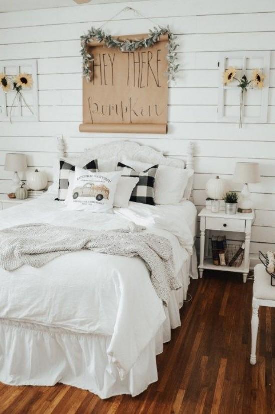 Schlafzimmer herbstlich gestalten rustikal passende Wanddeko Sonnenblumen
